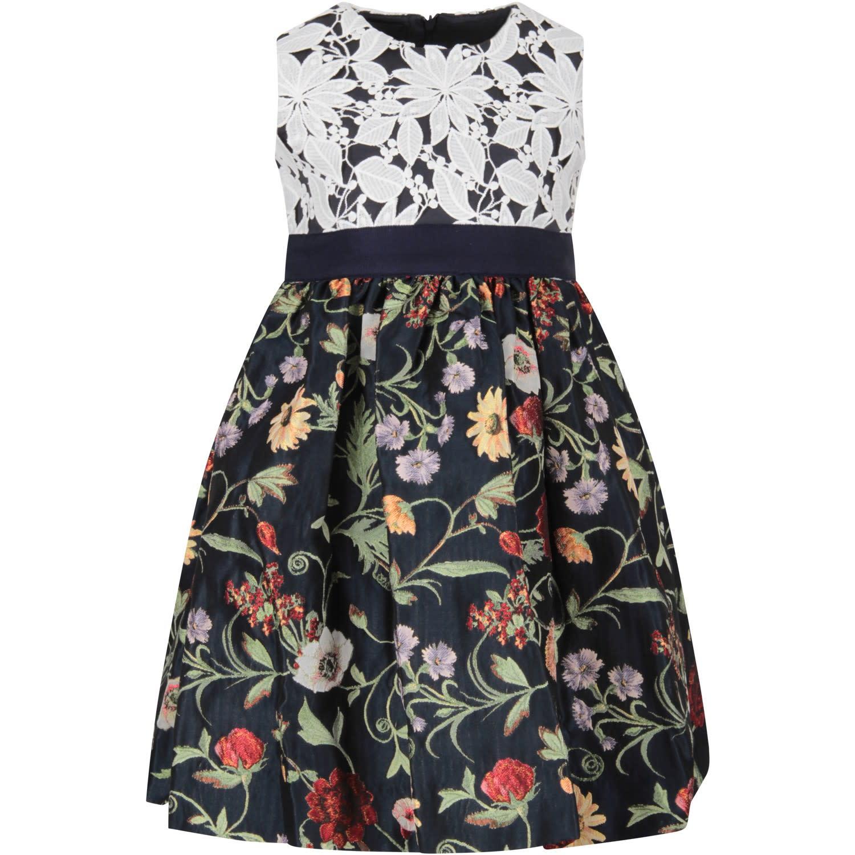 Buy Oscar de la Renta Blue Dress With Flowers For Girl online, shop Oscar de la Renta with free shipping