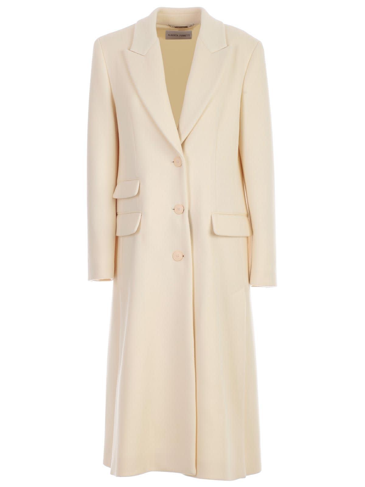 Alberta Ferretti Coat Single Breasted W/slits In Front