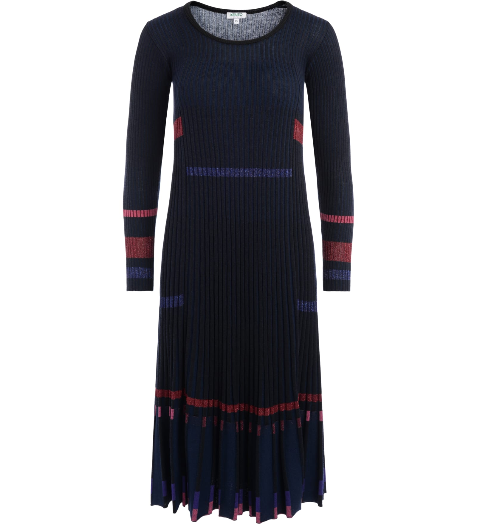 Buy Kenzo Crew Neck Blue And Black Ribbed Dress With Lurex Inserts online, shop Kenzo with free shipping