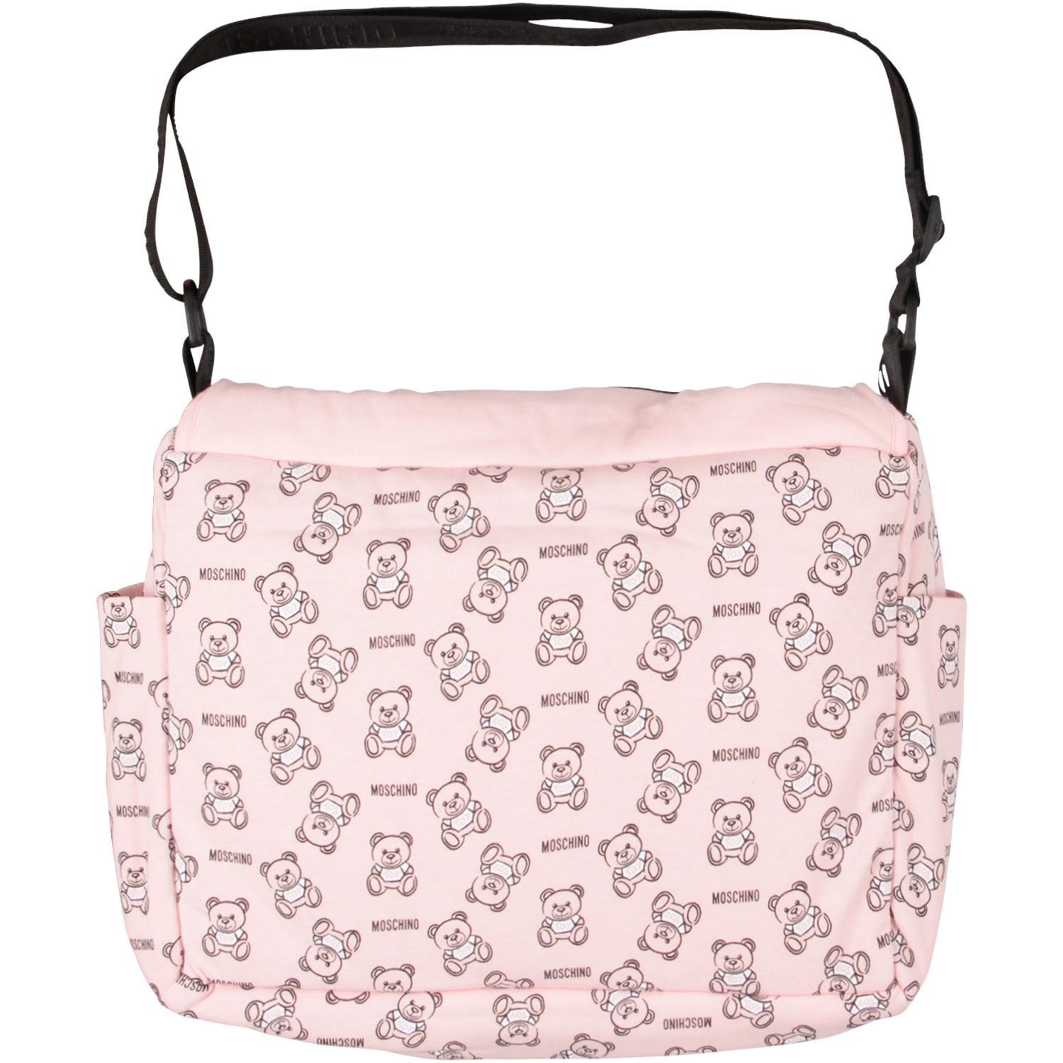 ade8fa127 ... Moschino Pink Babygirl Changing Bag With Black Teddy Bear And Logo -  Pink