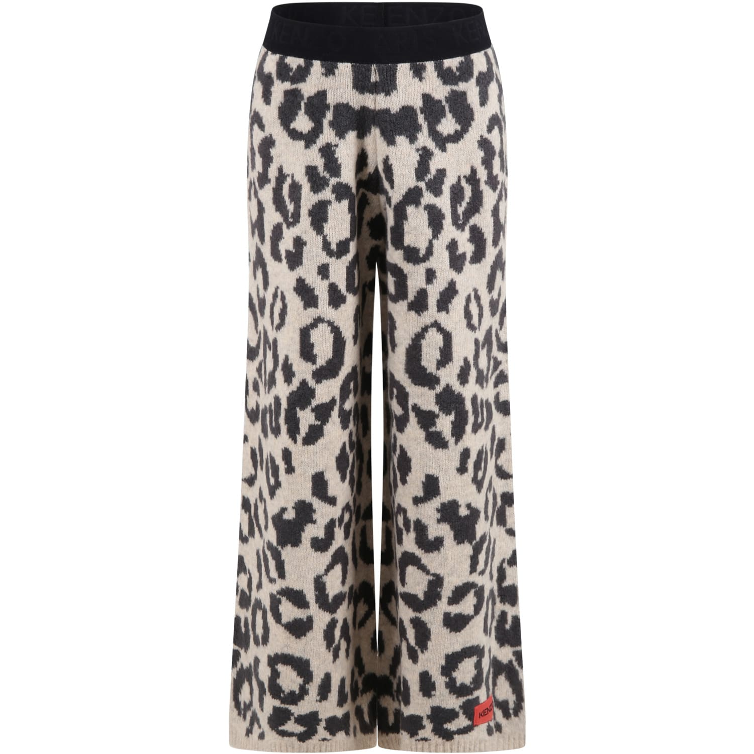 Beige Trousers For Girl With Animalier Print And Logo