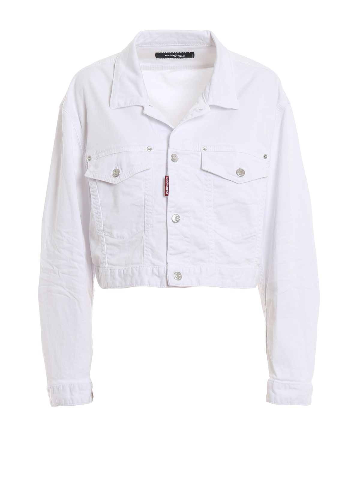Dsquared2 White Cotton Denim Cropped Jacket