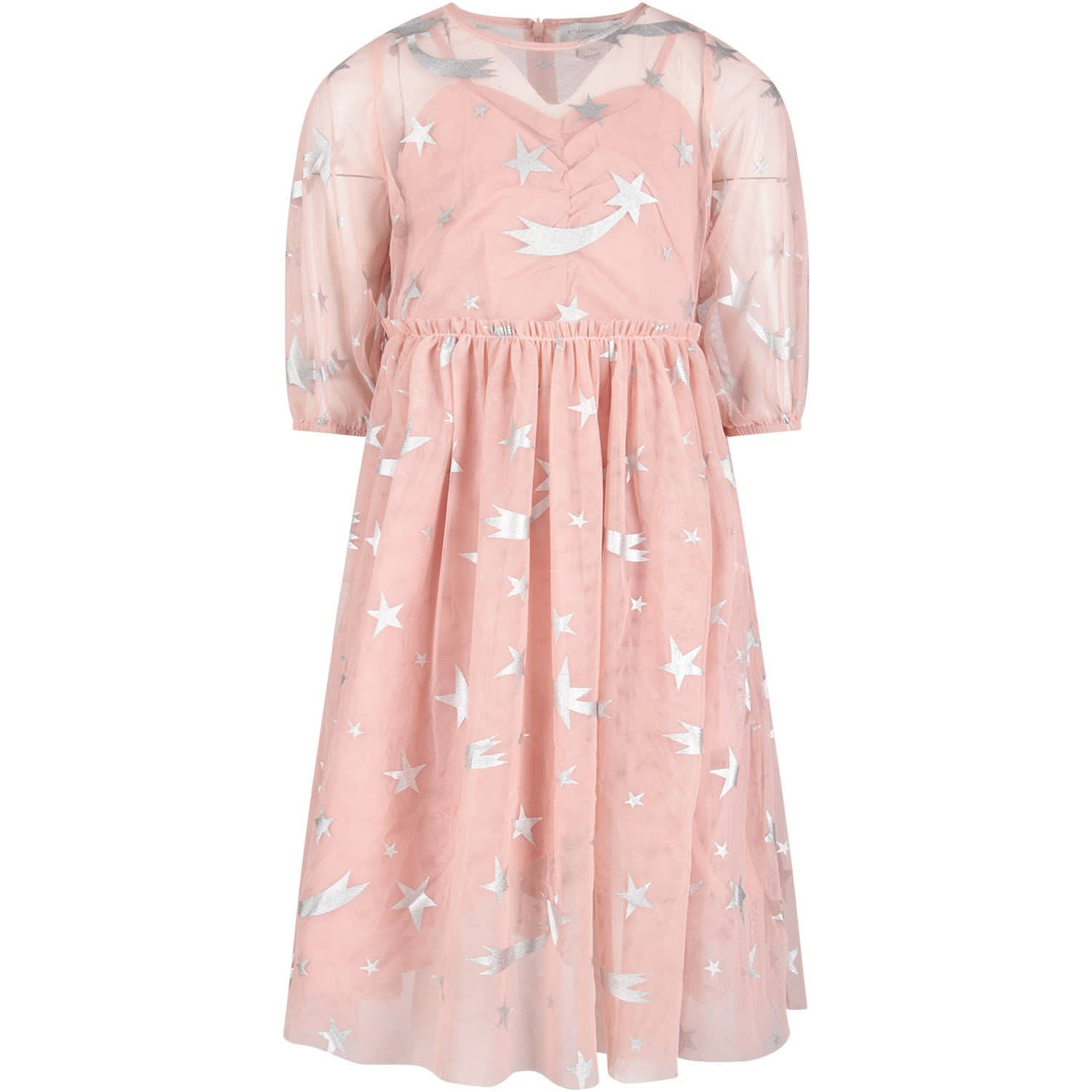 Stella McCartney Kids Pink Girl Dress With Silver Stars