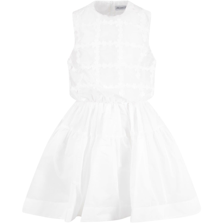 Buy Simonetta White Girl Dress With Flowers online, shop Simonetta with free shipping