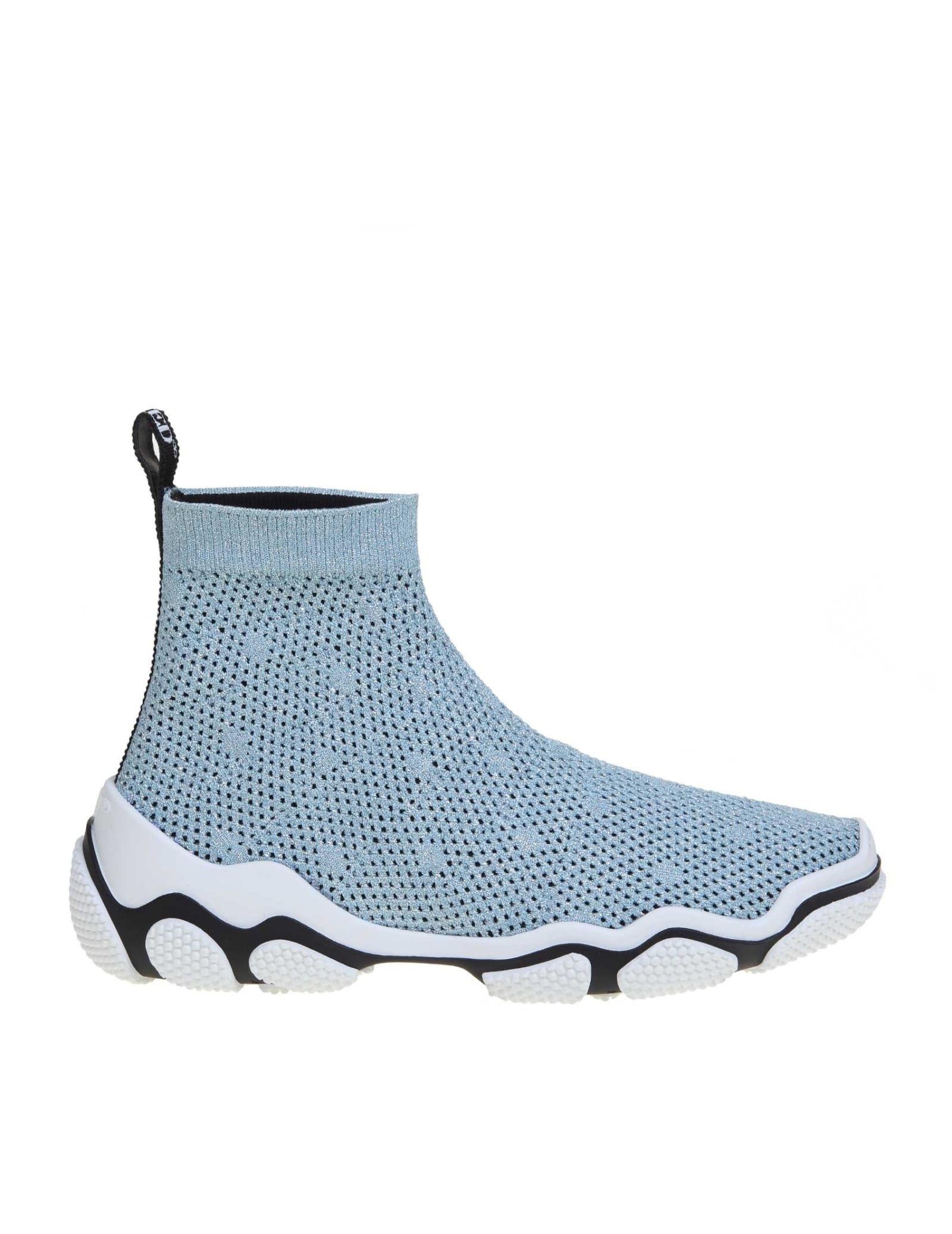 Lurex stretch knit sneakers light blue colour model with round tip logo tape on the heel part knit interior rubber sole composition: elastic mesh