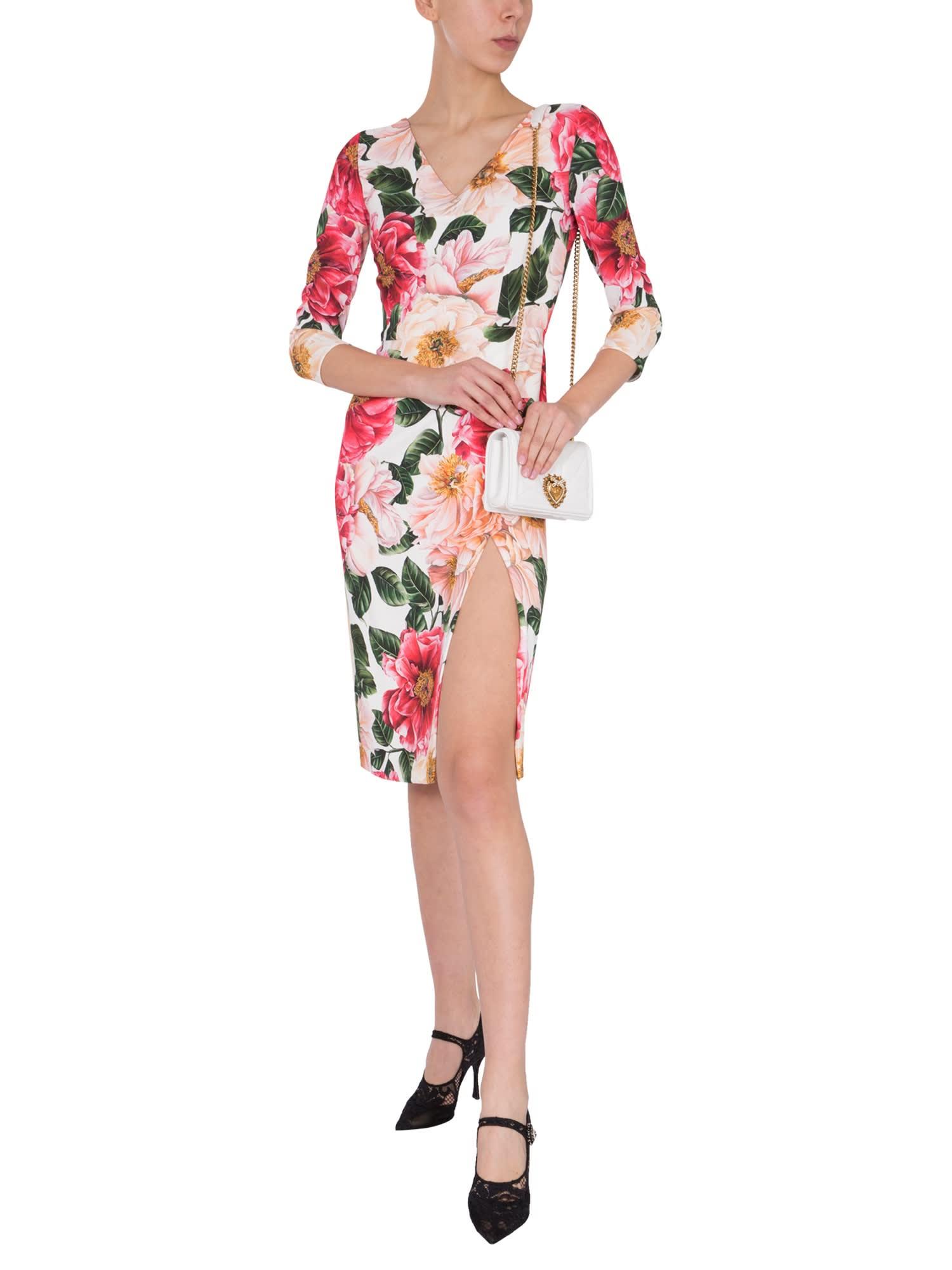 Buy Dolce & Gabbana Camellia Print Dress online, shop Dolce & Gabbana with free shipping