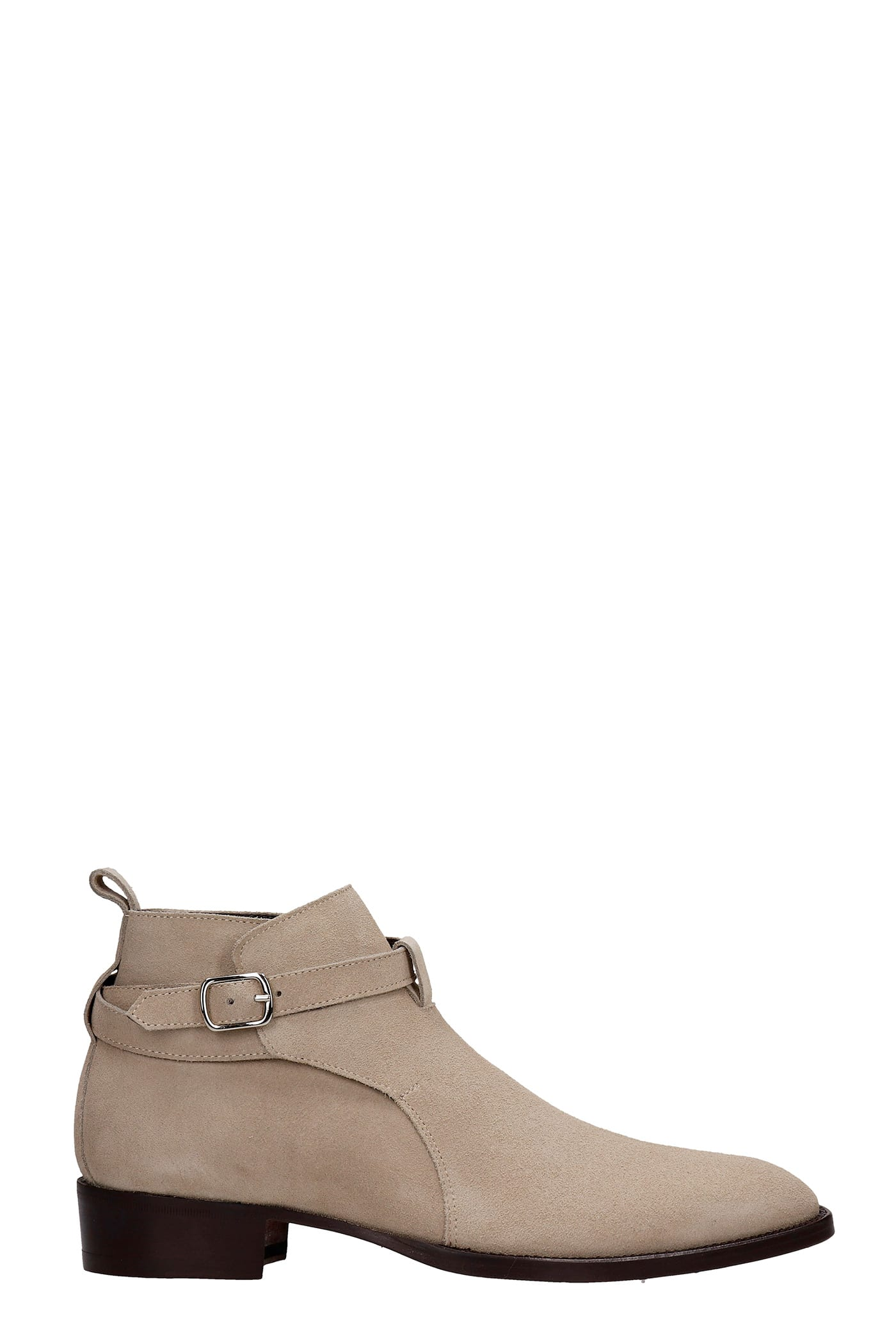 Low Heels Ankle Boots In Grey Suede