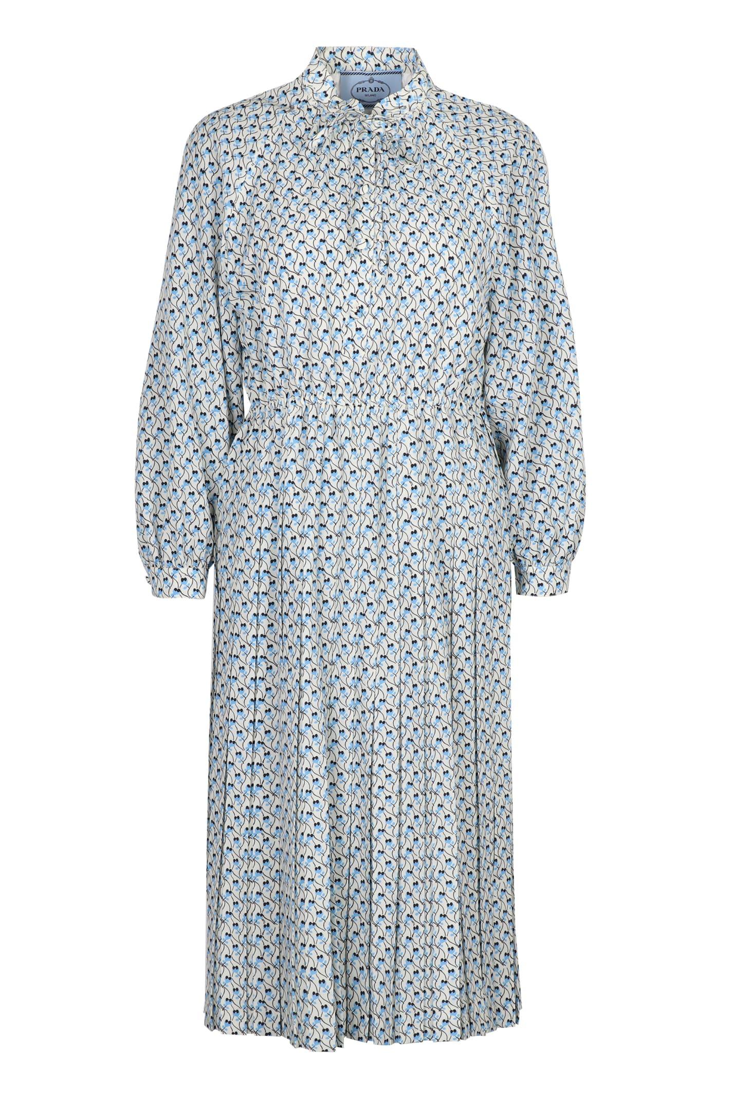 Buy Prada Floral Print Crepe Dress online, shop Prada with free shipping