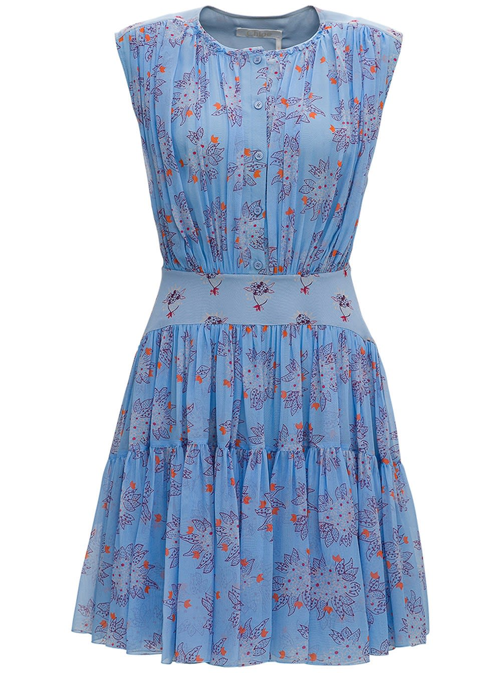 Chloé FLORAL SILK MIDI DRESS