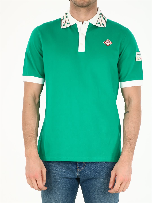Casablanca Shirts GREEN COTTON POLO SHIRT