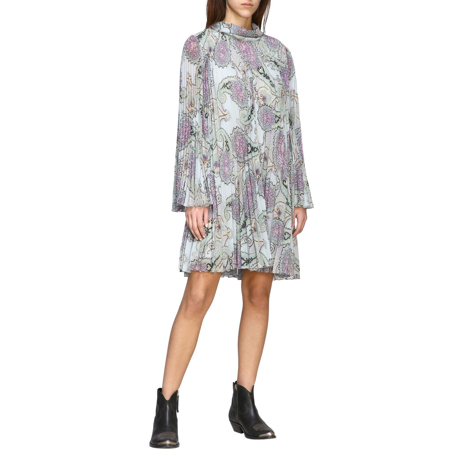 Buy Etro Dress Etro Dress In Pleated Fabric With Paisley Print online, shop Etro with free shipping