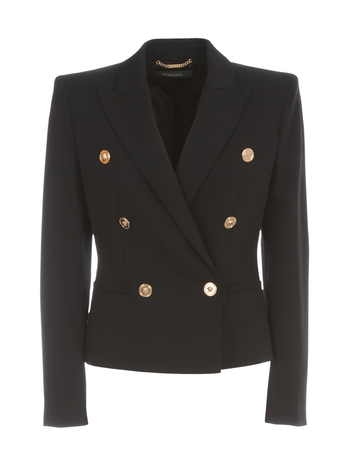 VERSACE WOOL GABARDINE STRETCH SHORT JACKET