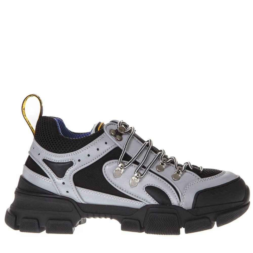 098df92ce Gucci Gucci Black And Gray Flashtrek Sneaker In Leather - Black/gray ...