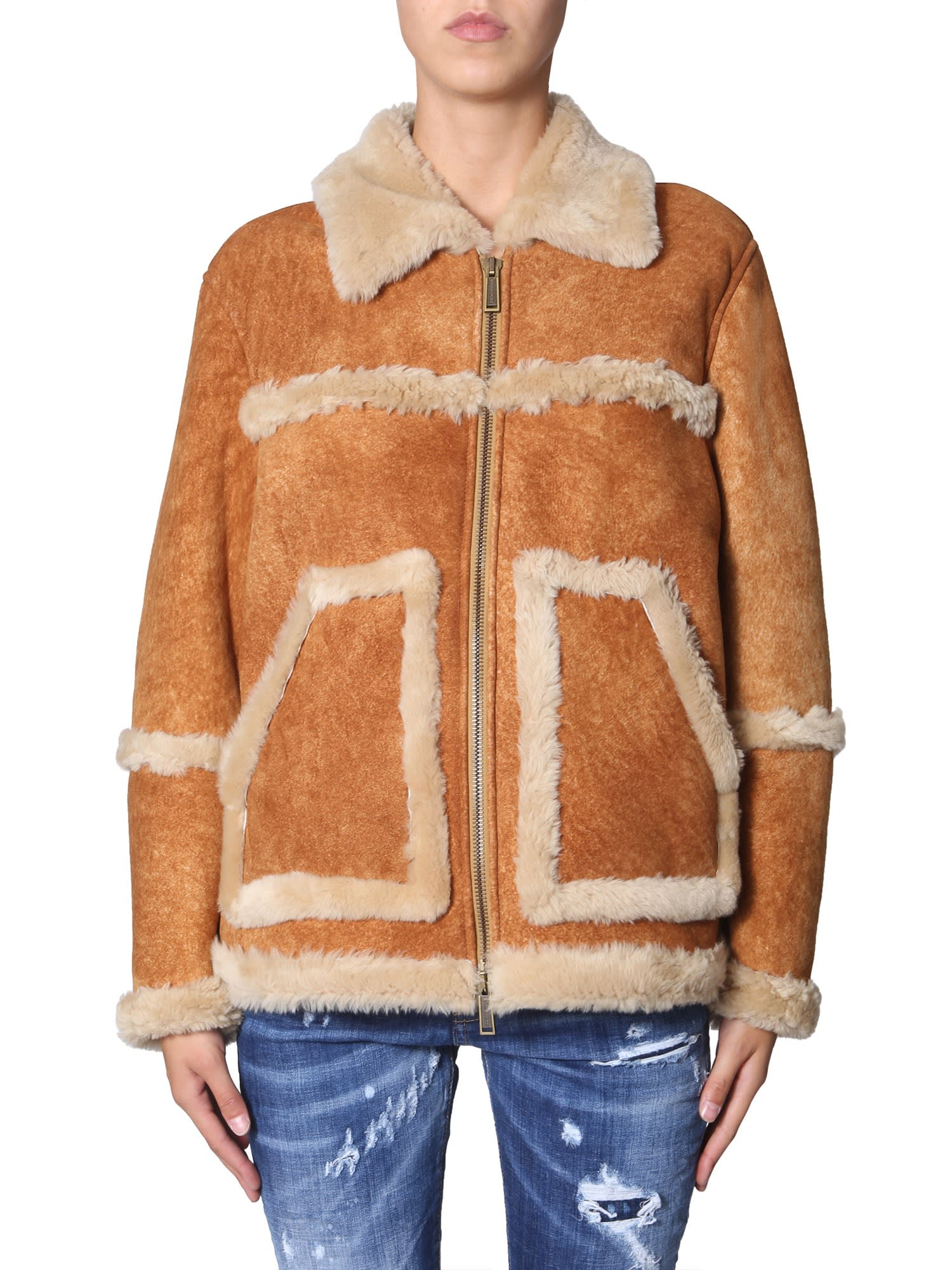 Dsquared2 Sheepskin Jacket With Pockets