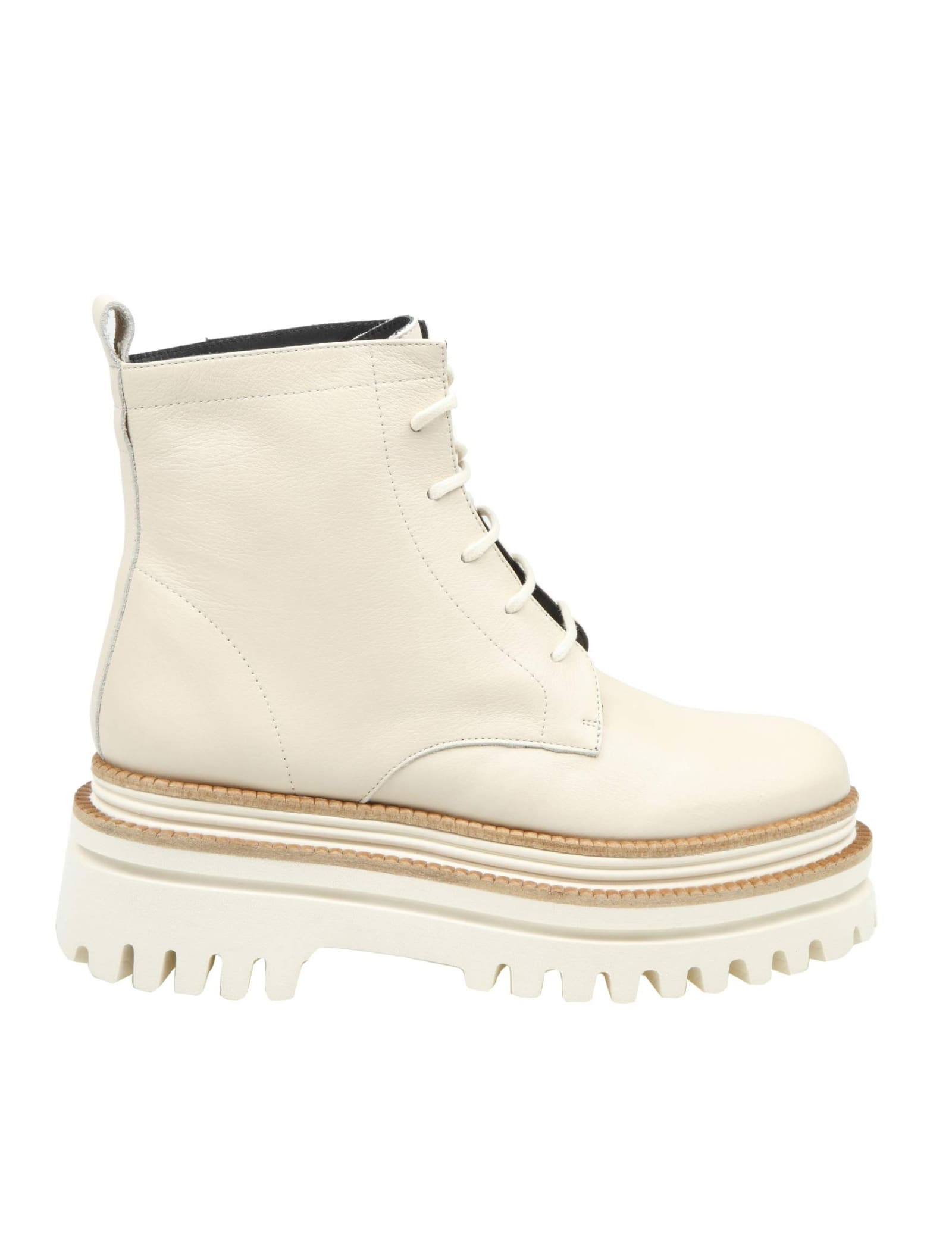 Paloma Barceló PALOMA BARCELO FETHI ANKLE BOOT IN NAPPA AND MILK COLOR