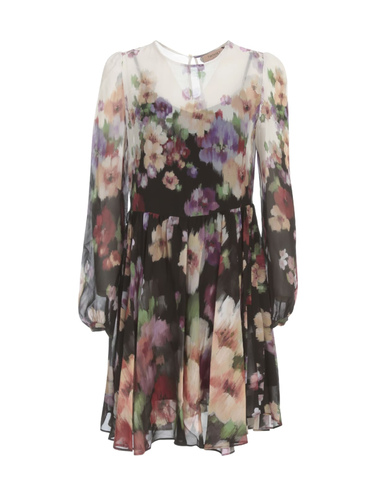 TwinSet Degrade Dress Crew Neck Flowers Printing