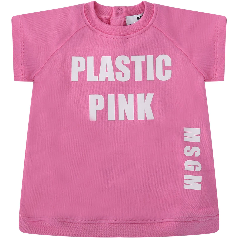 MSGM Pink Babygirl Dress With White Logo
