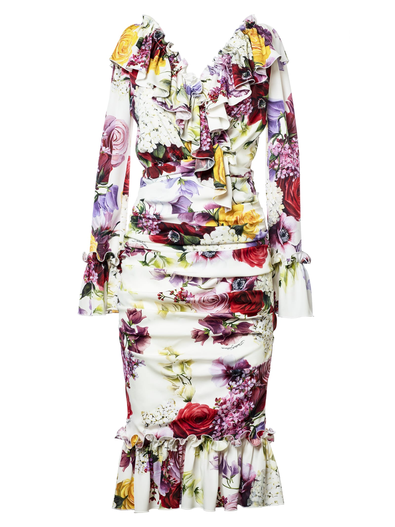 Dolce & Gabbana Ruffle Floral Charmeuse Dress
