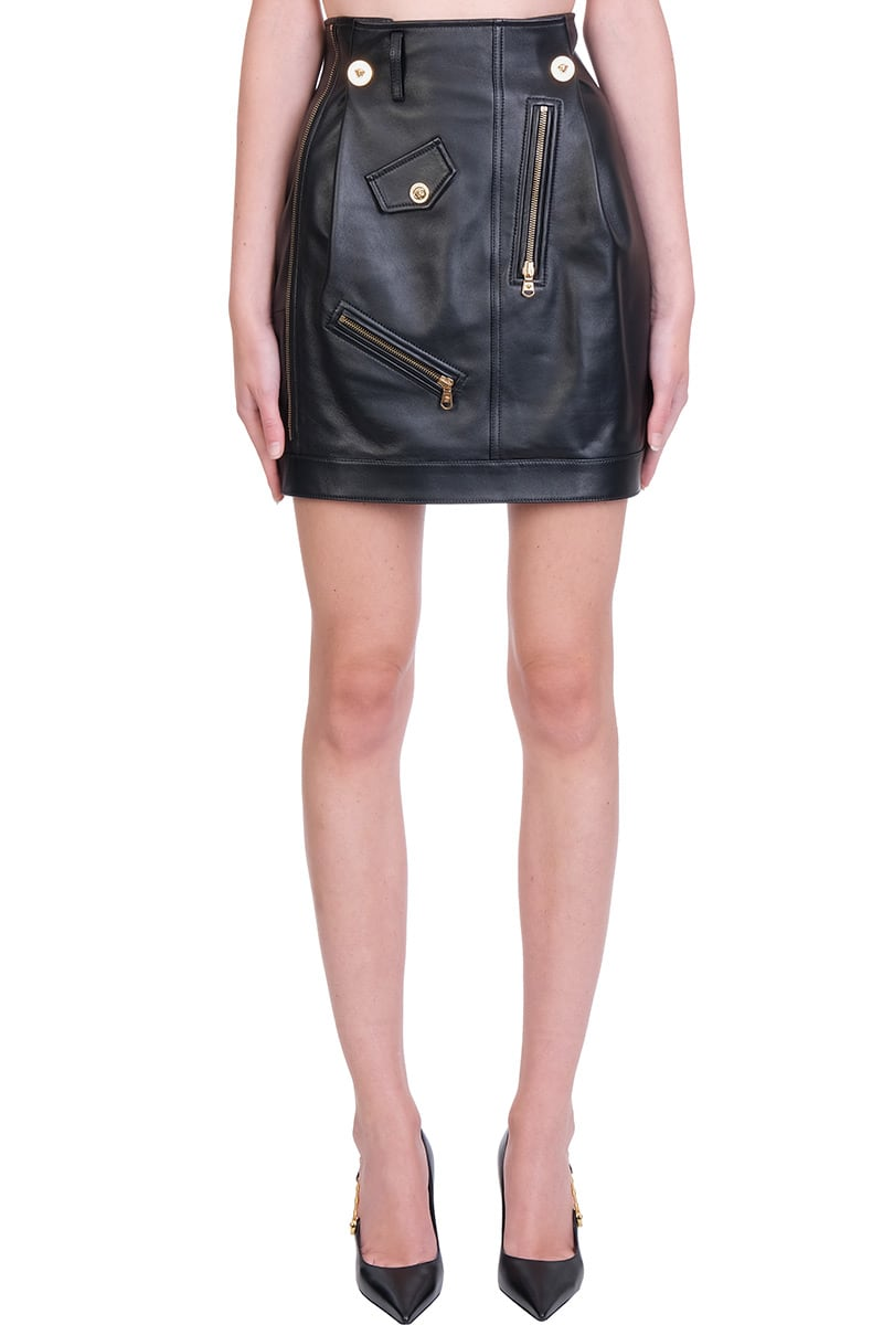 Versace Skirt In Black Leather