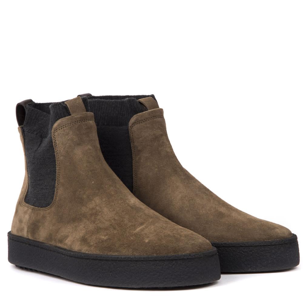 Hogan H476 Khaki Suede Chelsea Boots