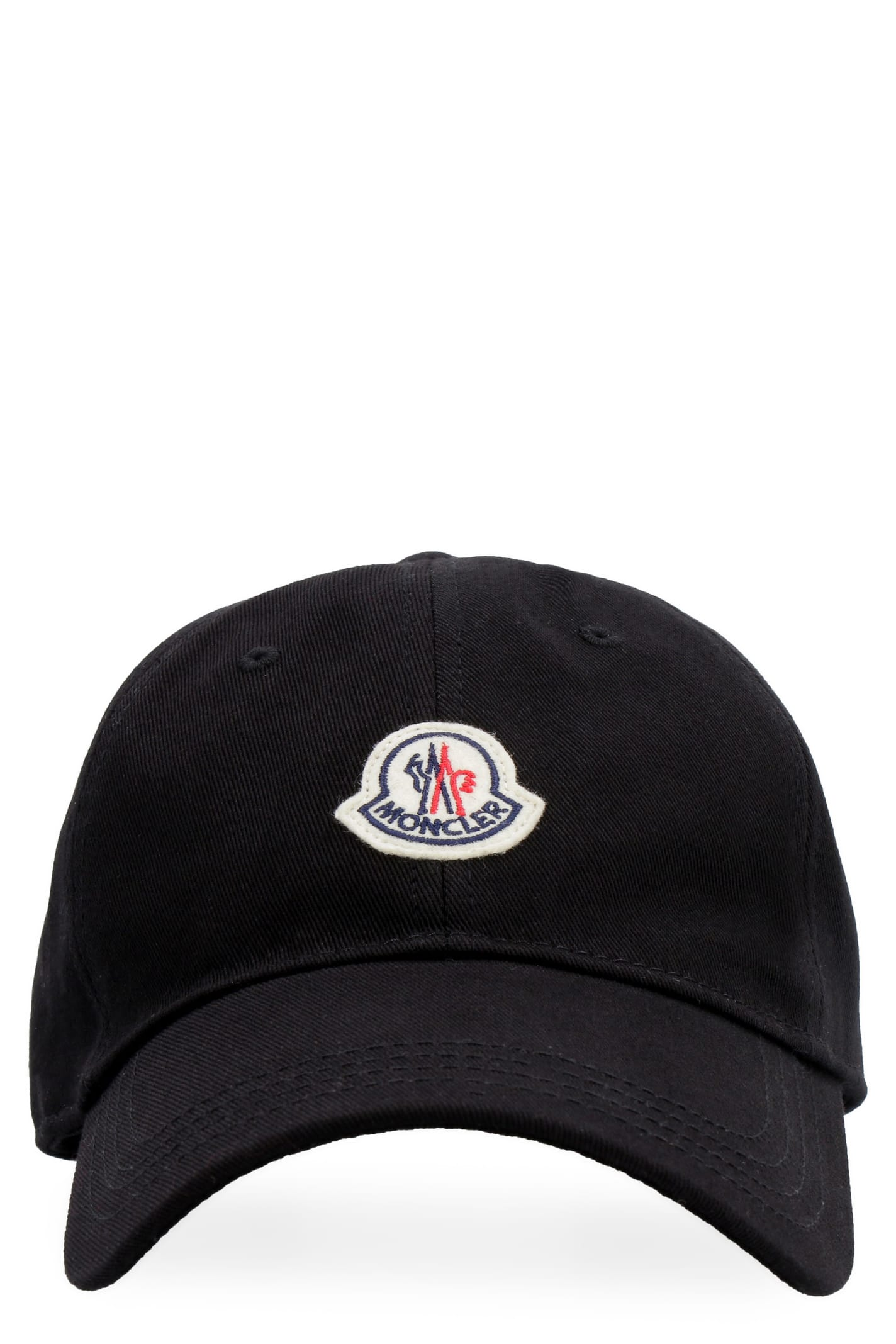 Moncler Patch Baseball Cap In Black
