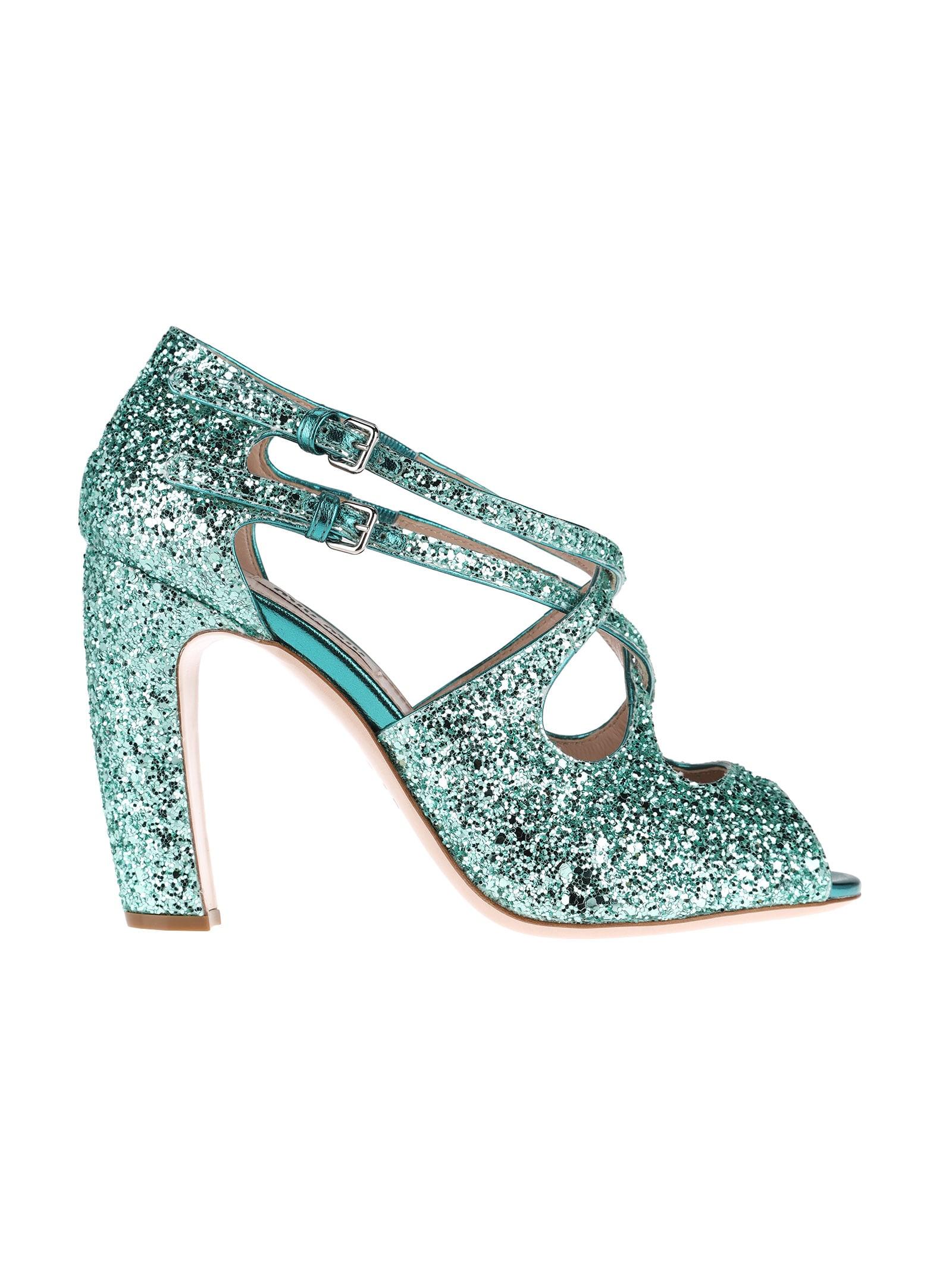 Miu Miu Glitter Open Toe Sandals