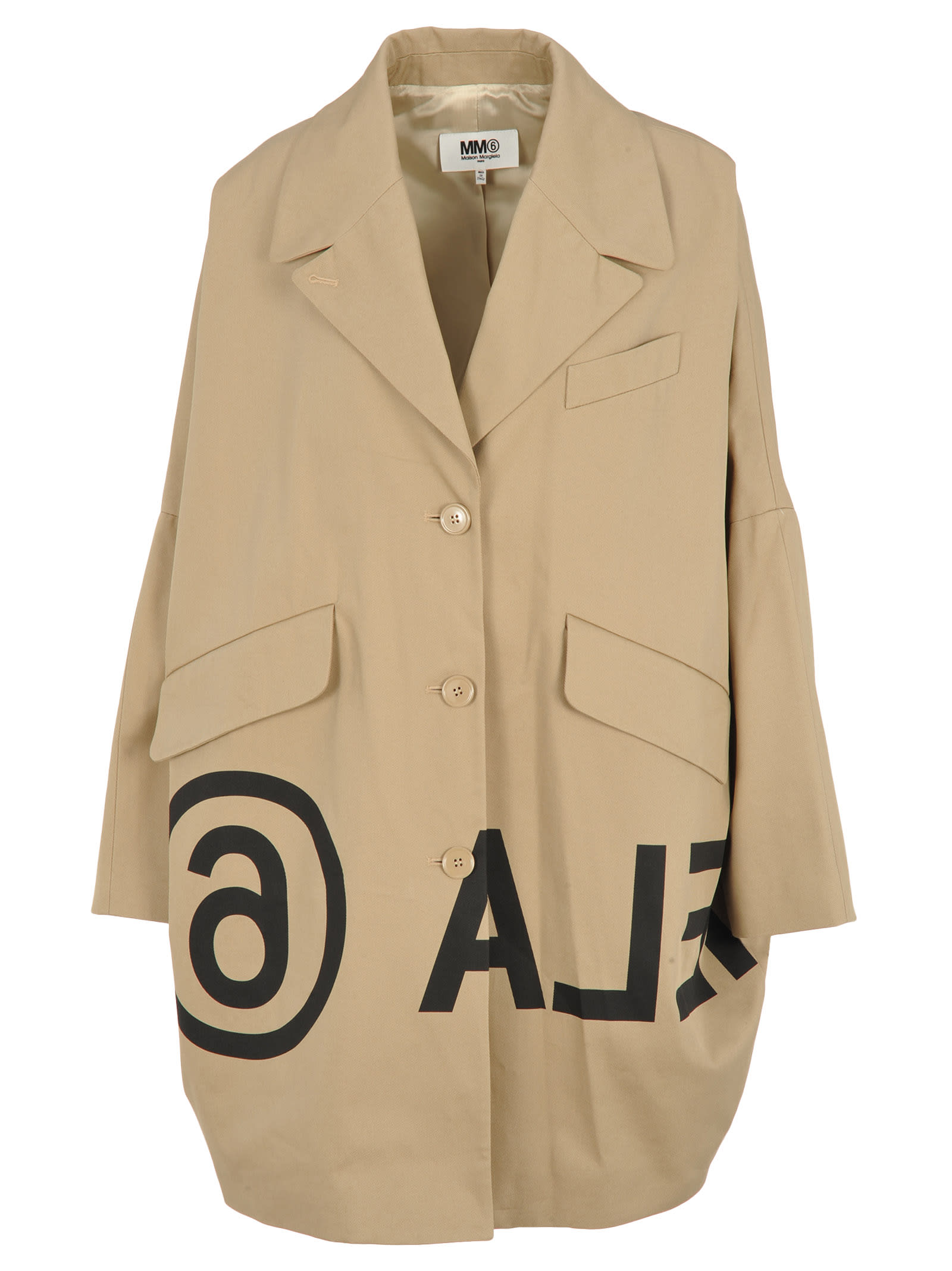Mm6 Inverted Logo-print Cocoon Coat