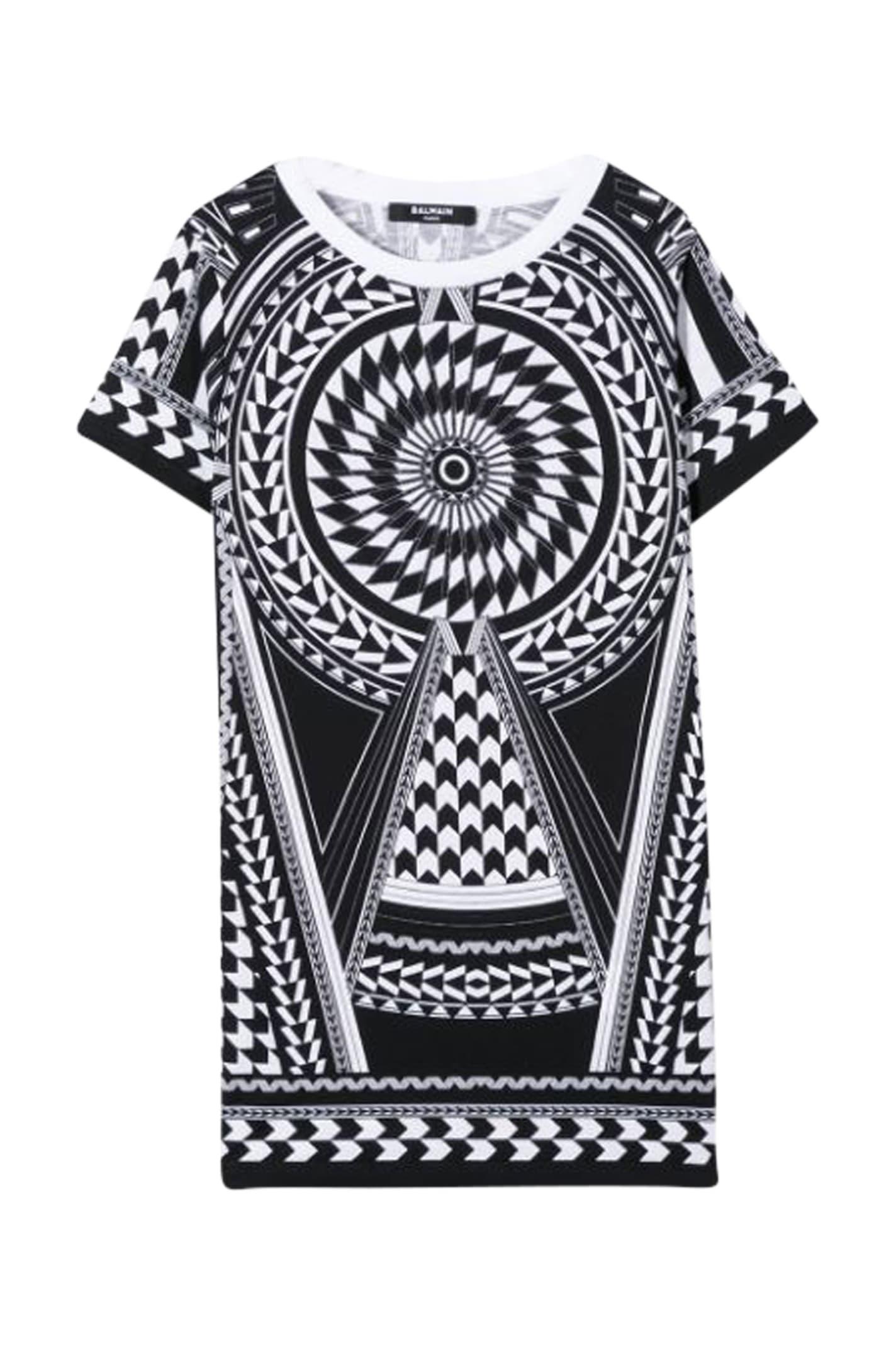 Buy Balmain Kids Geometric Print Dress online, shop Balmain with free shipping