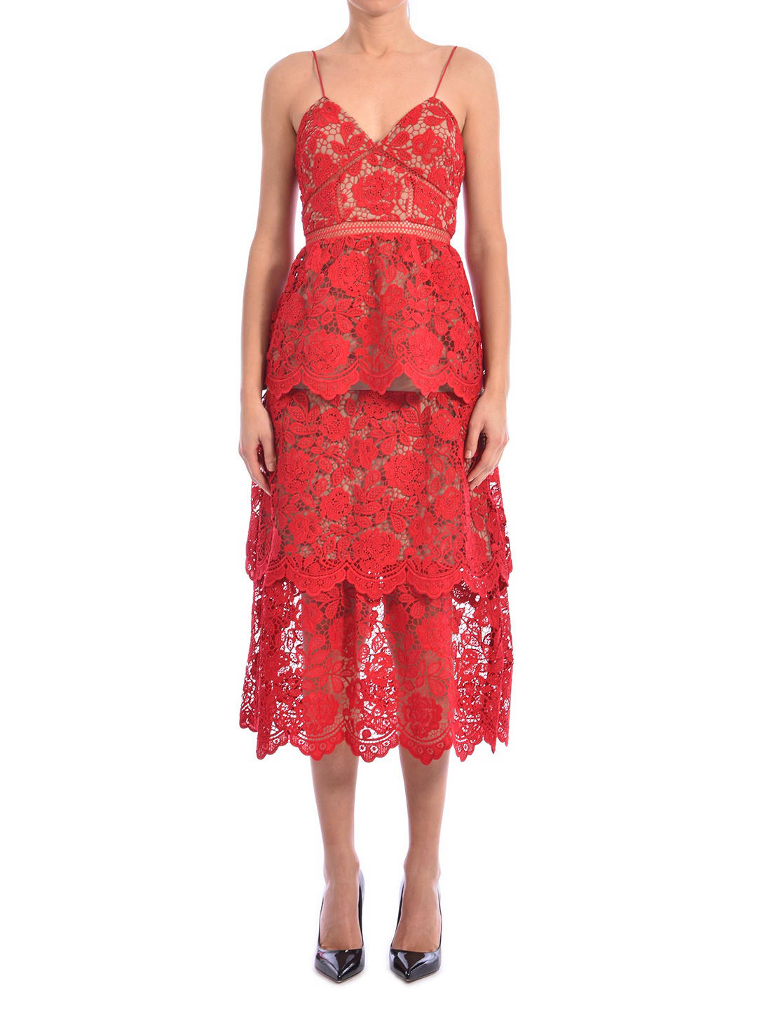 Buy self-portrait Lace Dress Red online, shop self-portrait with free shipping