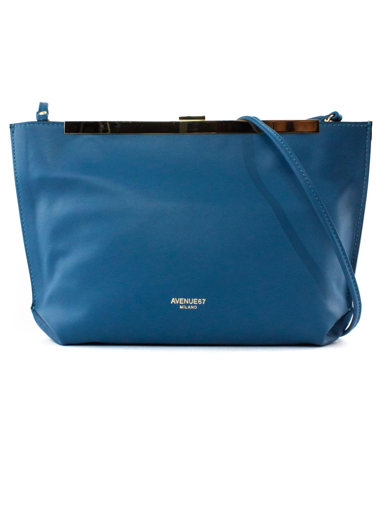 Guia Clutch In Blue Soft Leather