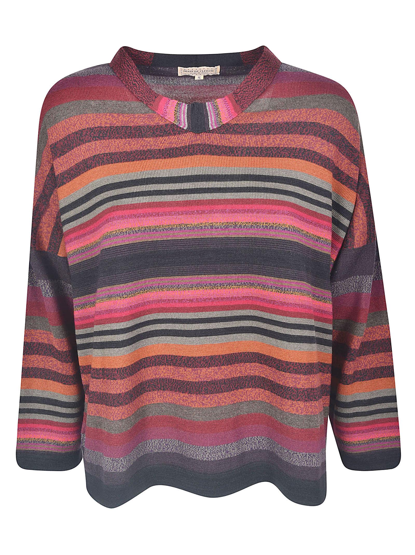 Stripe Pattern Ribbed Sweater