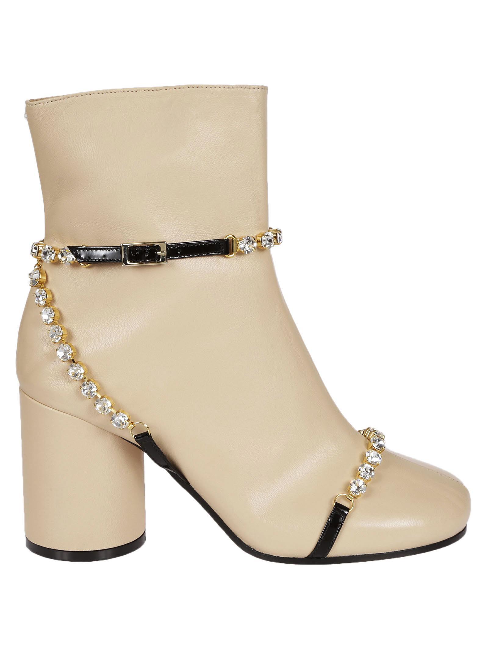 Buy Maison Margiela Embellished Ankle Boots online, shop Maison Margiela shoes with free shipping