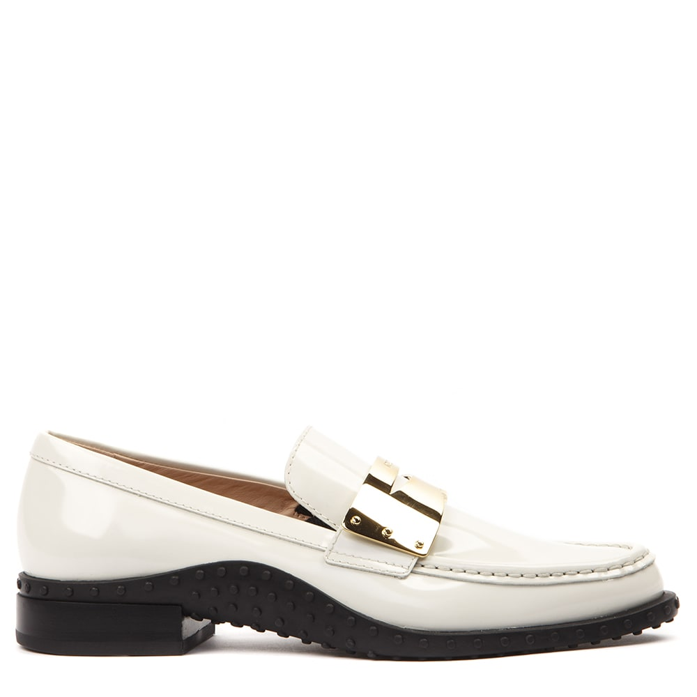 Tods White Leather Loafer