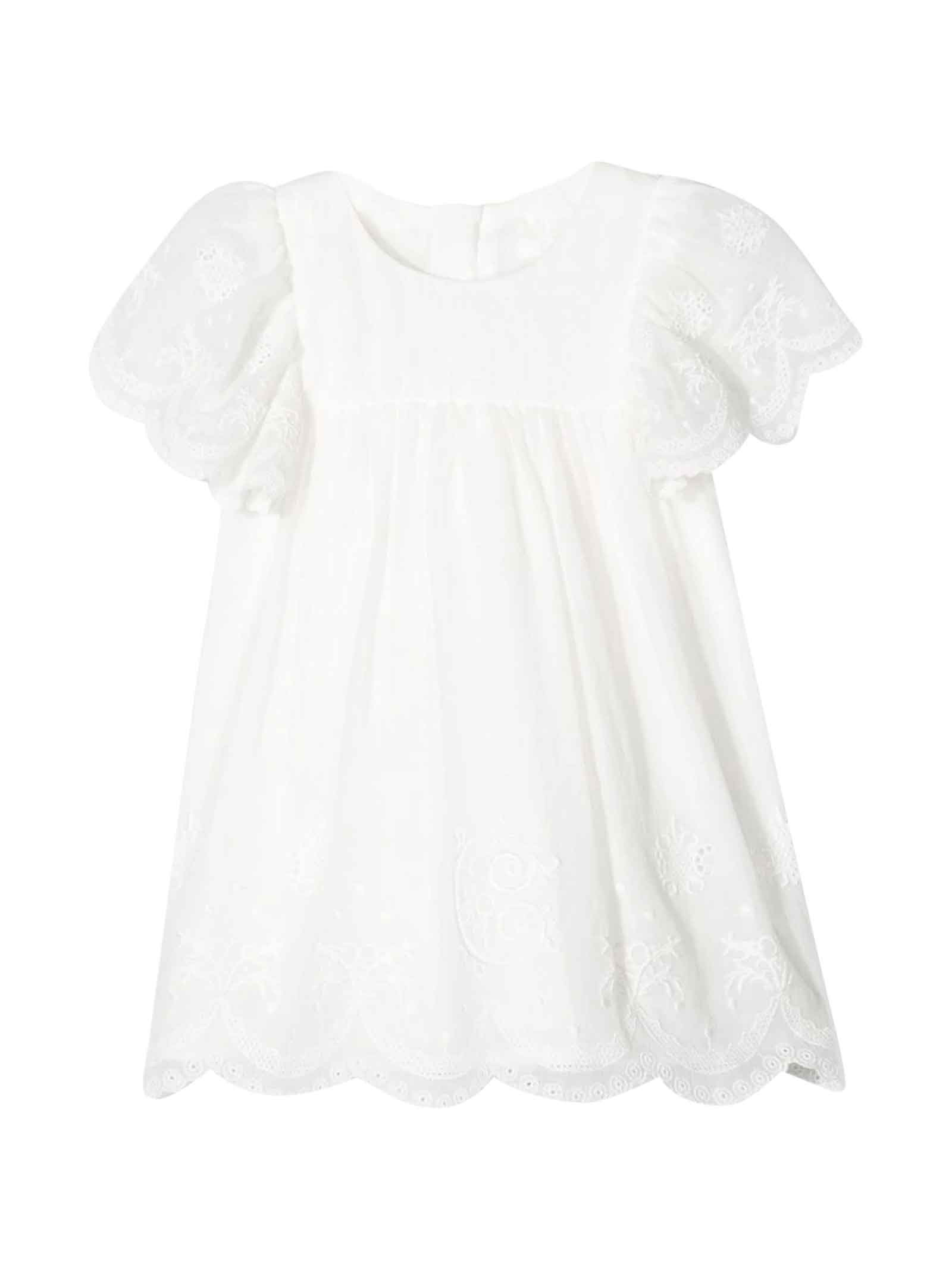 Buy Chloé White Dress With Embroidery Chloé Kids online, shop Chloé with free shipping