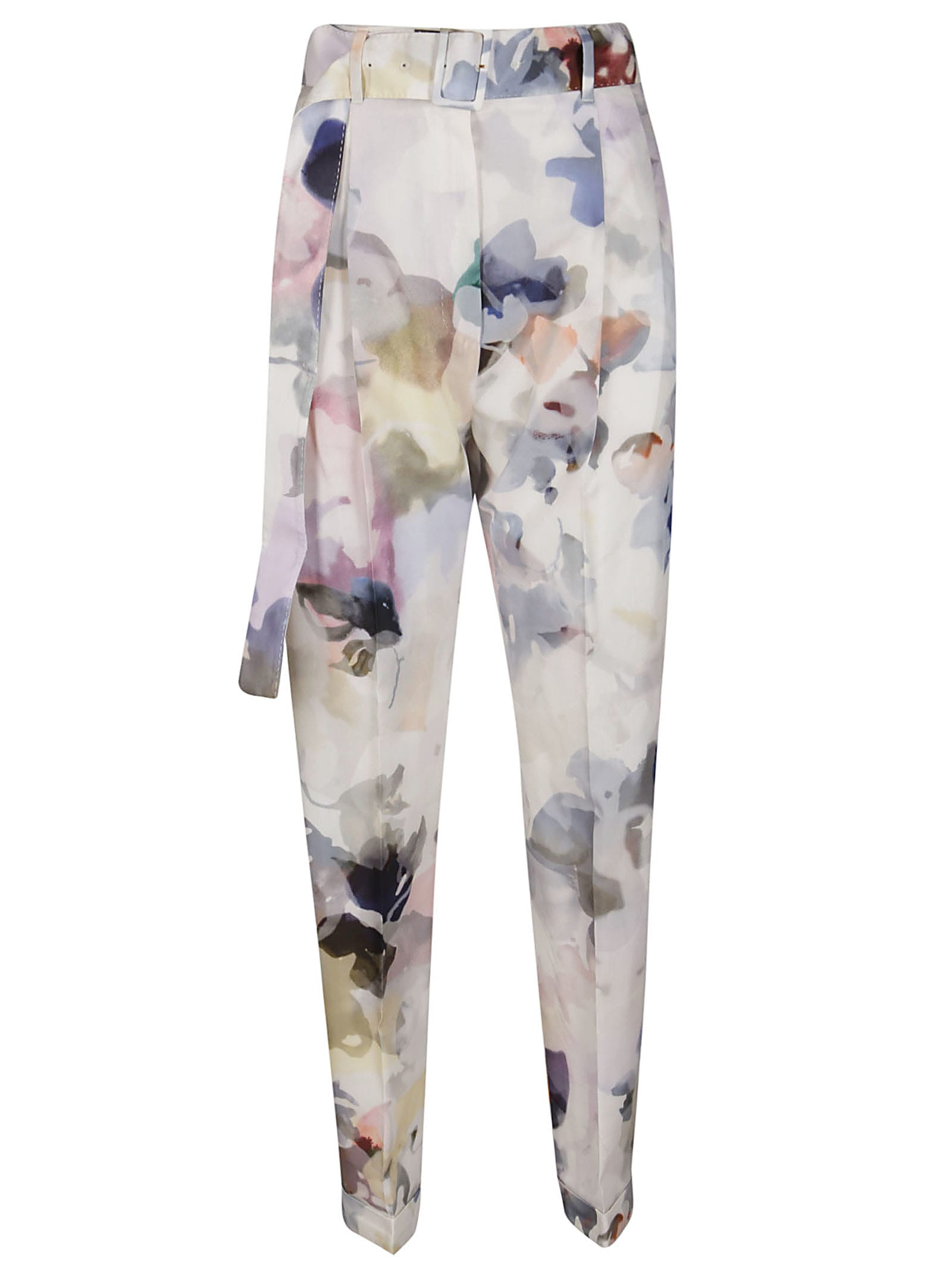 Agnona Pearl White Cotton-silk Trousers