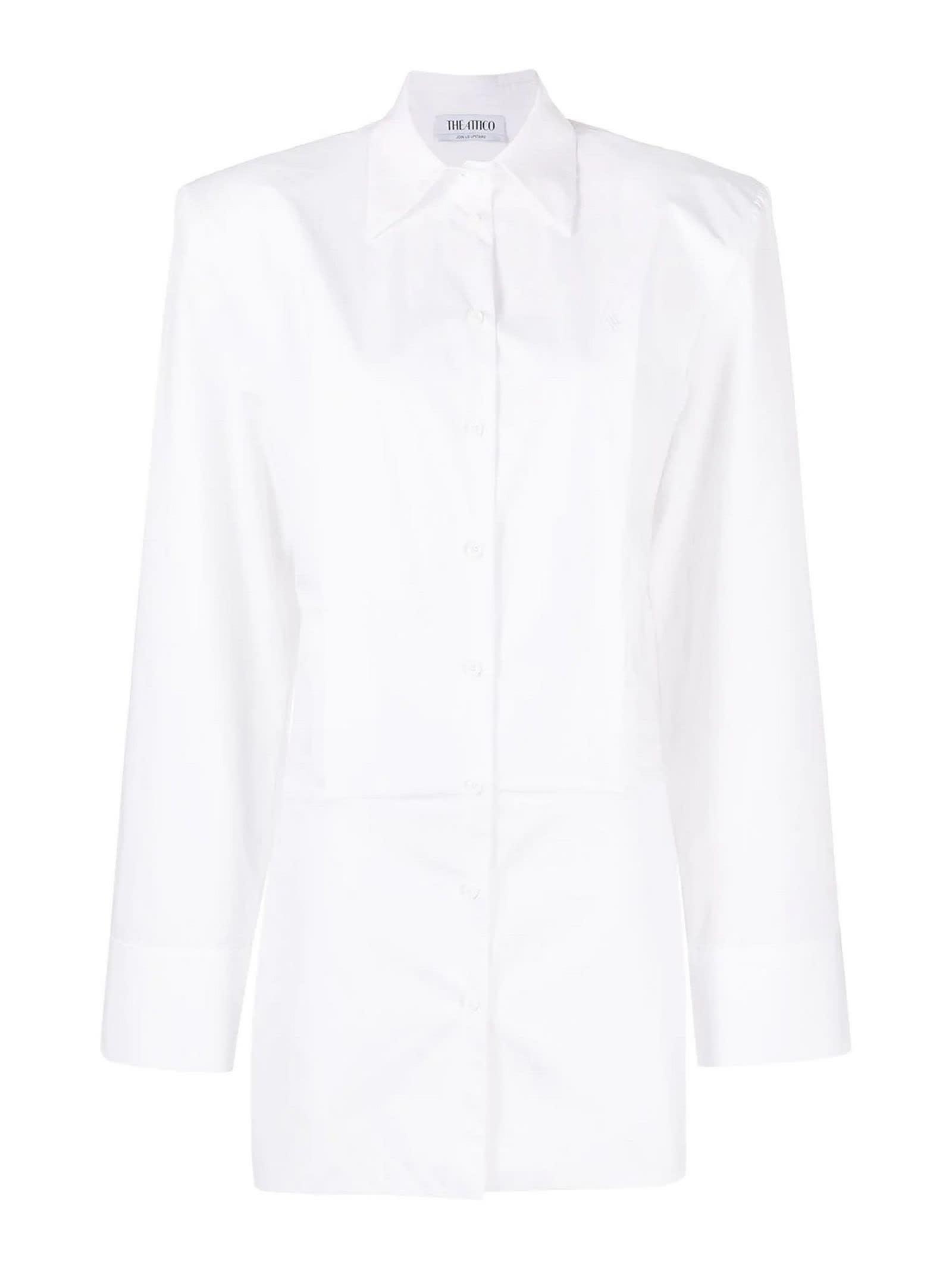 Buy The Attico White Cotton Mini Shirt Dress online, shop The Attico with free shipping