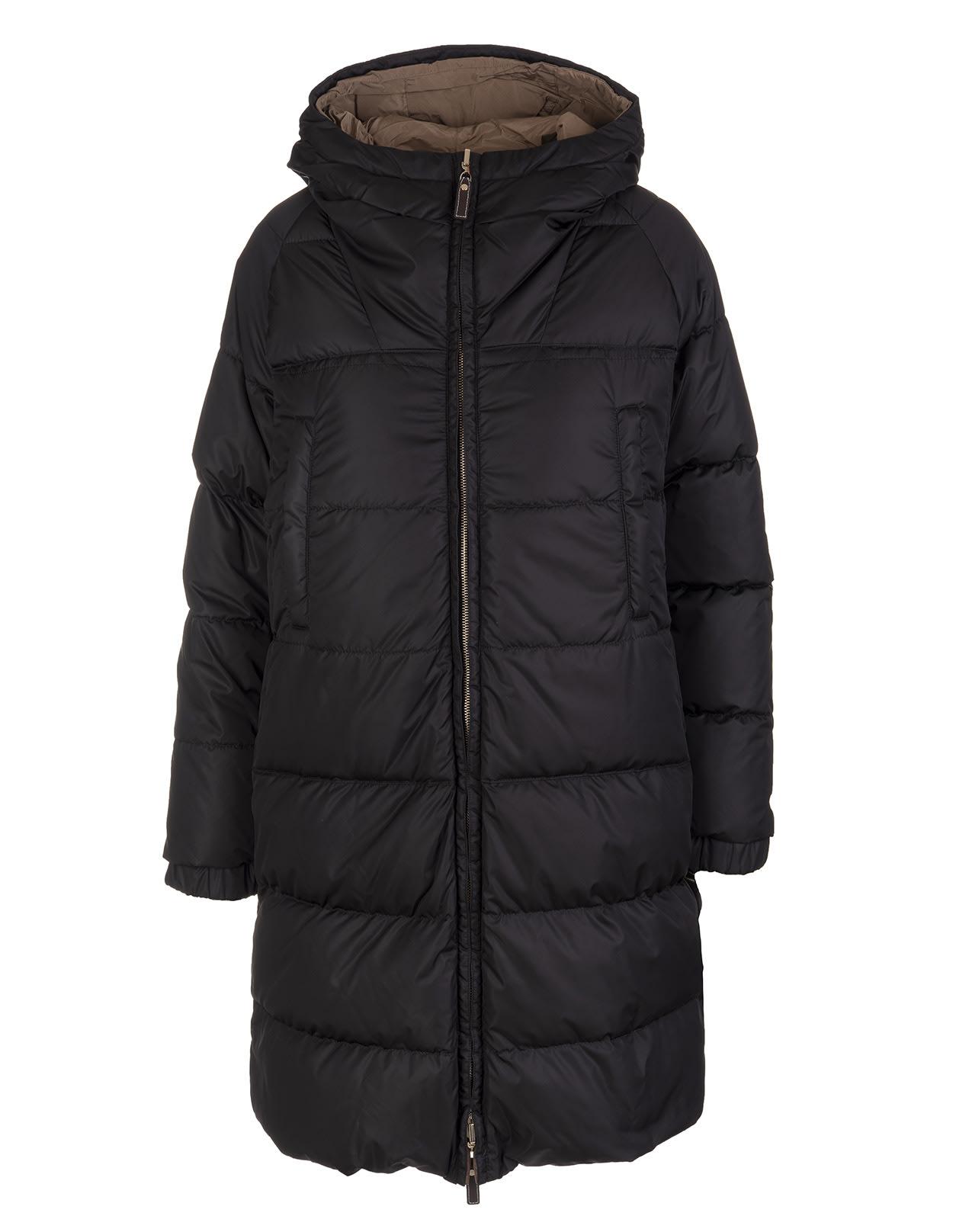 Black And Mud Reversible Sportl Medium Down Jacket