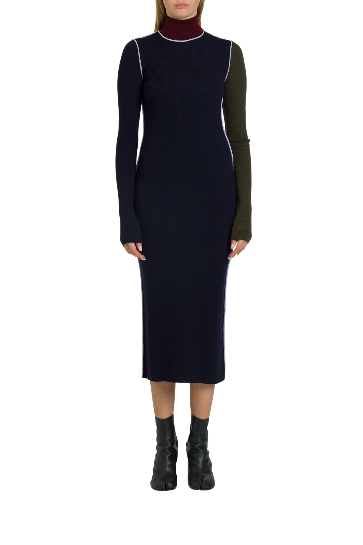 Maison Margiela Color-blocked Midi Wool Turtleneck Dress