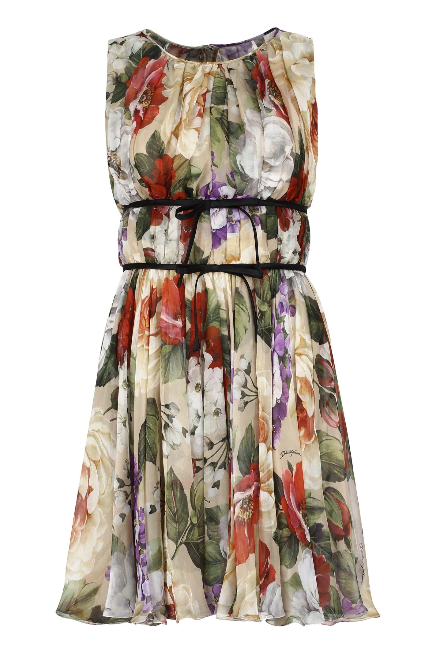 Buy Dolce & Gabbana Printed Chiffon Dress online, shop Dolce & Gabbana with free shipping