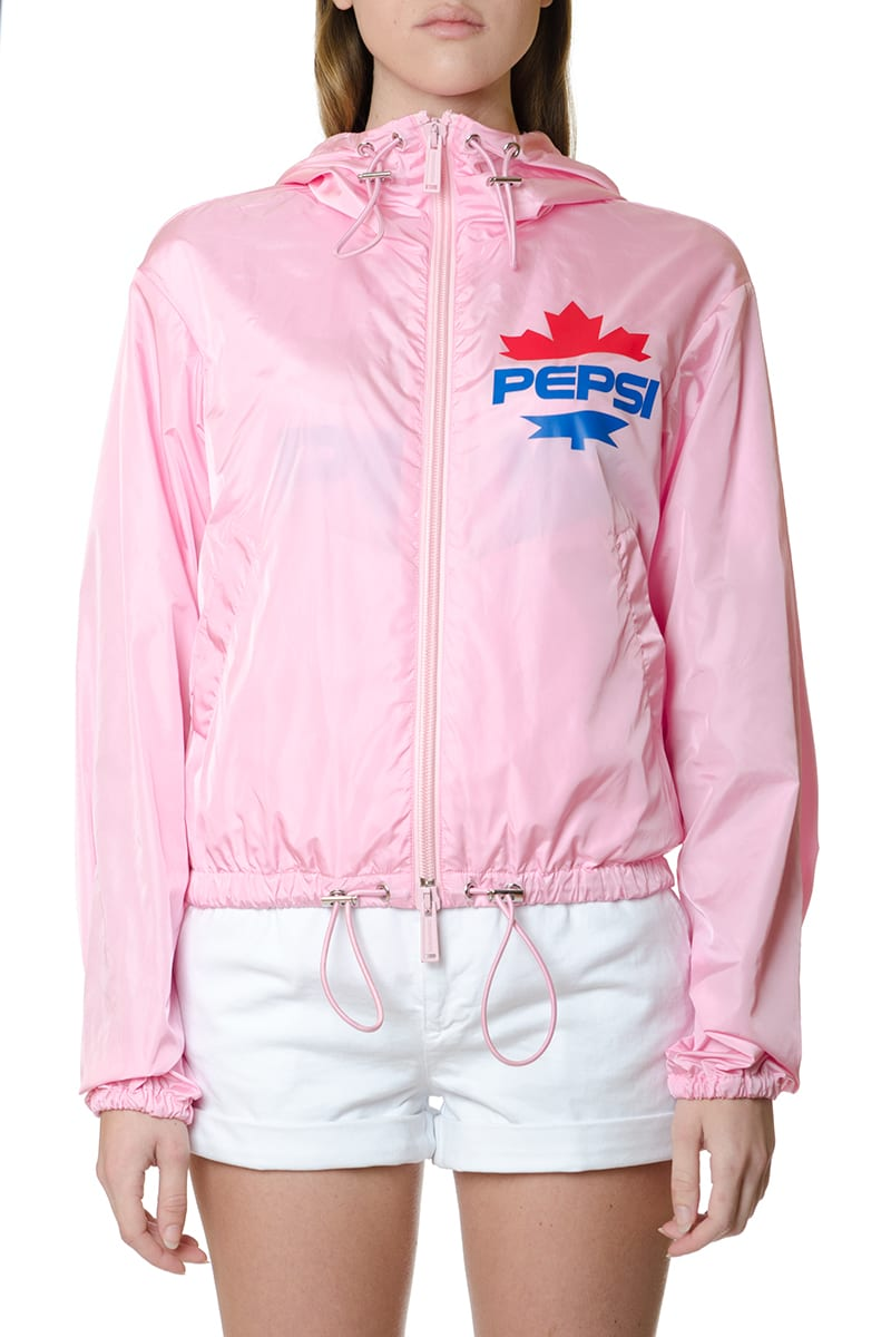 Dsquared2 Pink Technical Fabric Printed Jacket