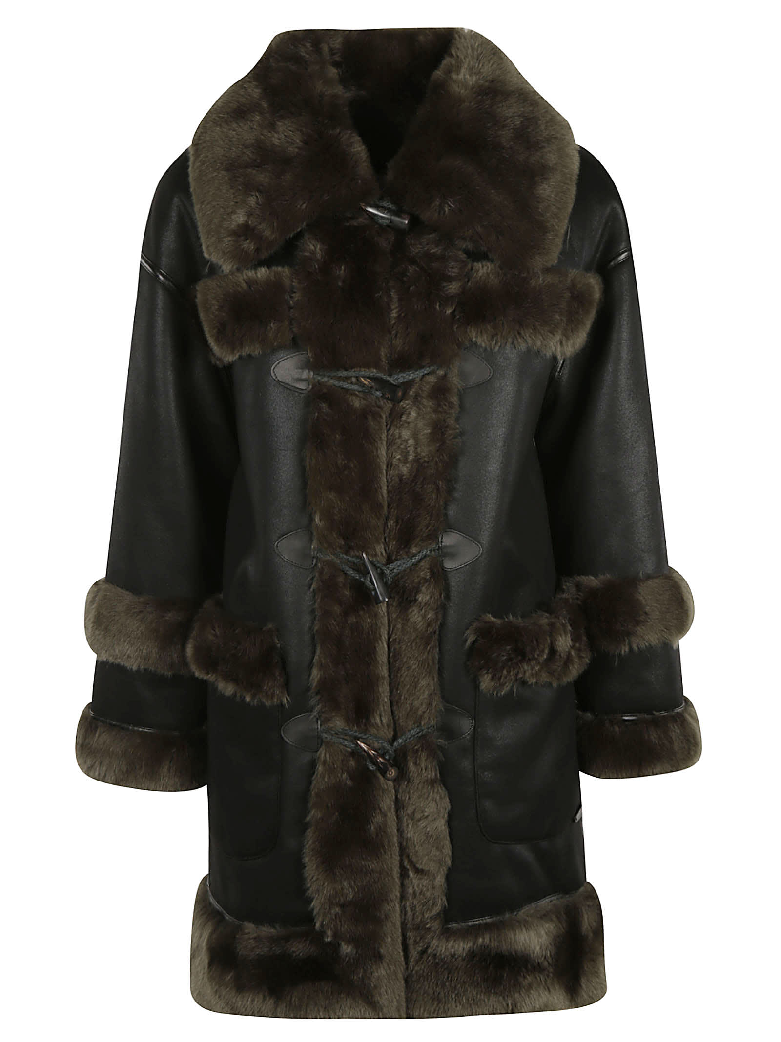 urbancode Furry Detail Toggle Lock Reversible Long Coat
