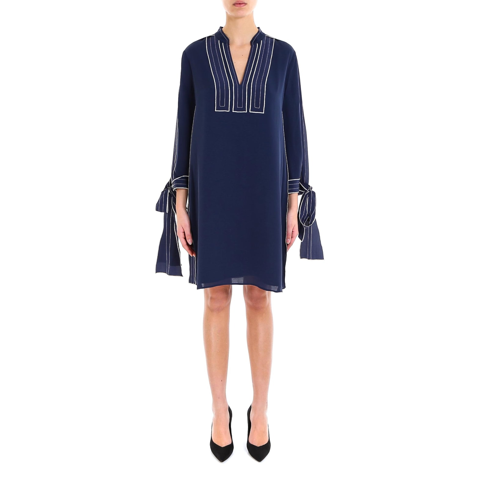 Tory Burch Contrast Silk Tunic Dress