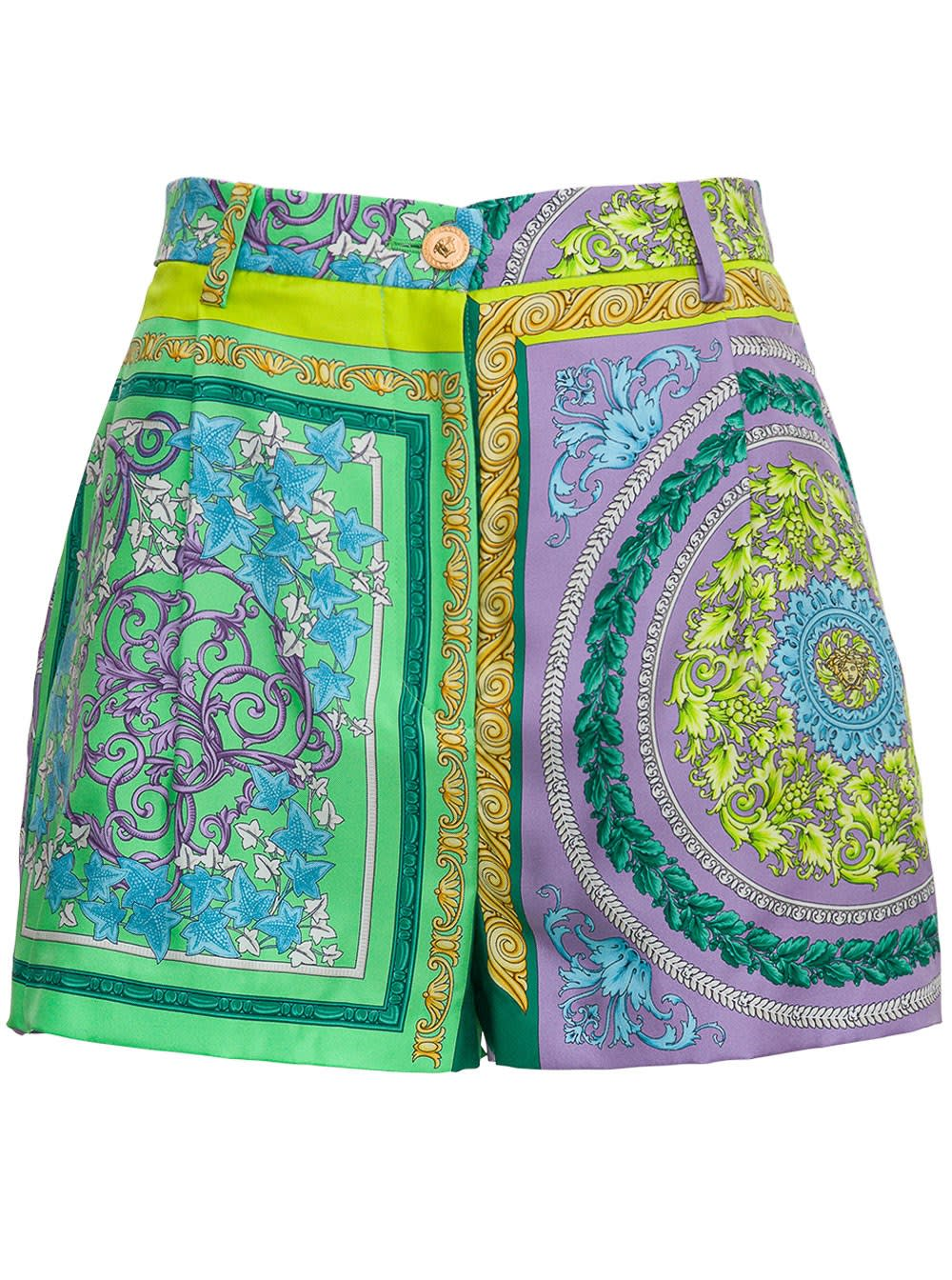 Versace SILK SHORTS WITH BAROCCO MOSAIC PRINT