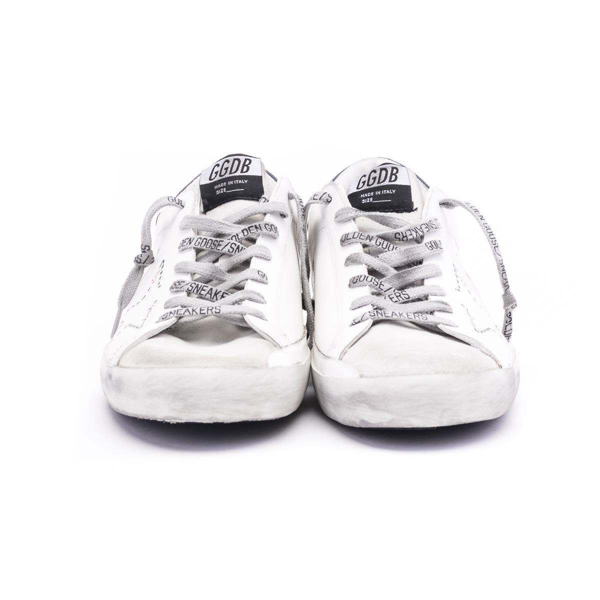 Golden Goose Superstar Classic Sneakers In White - Ice - Dark Blue