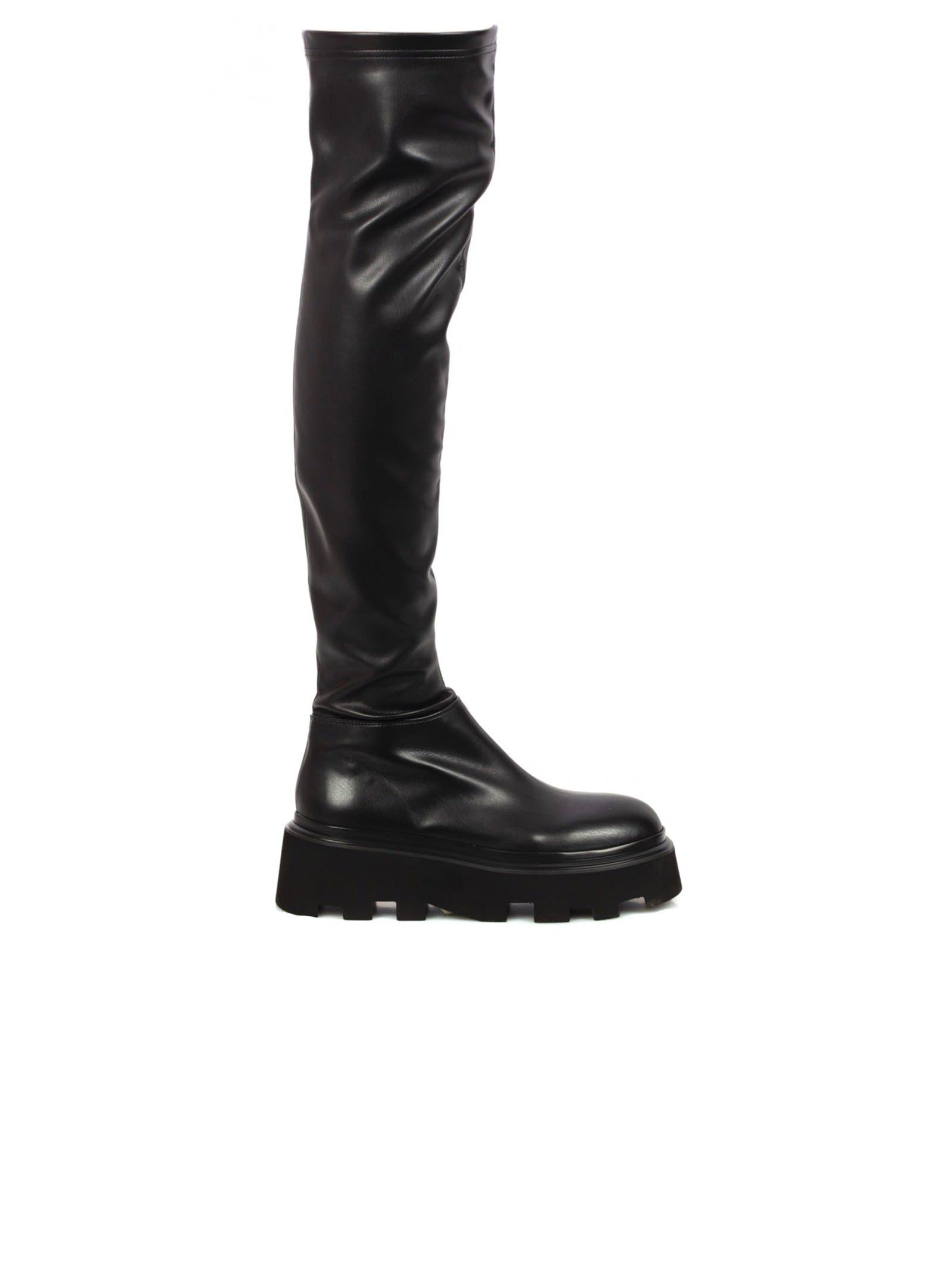 Black Leather Overknee Boots
