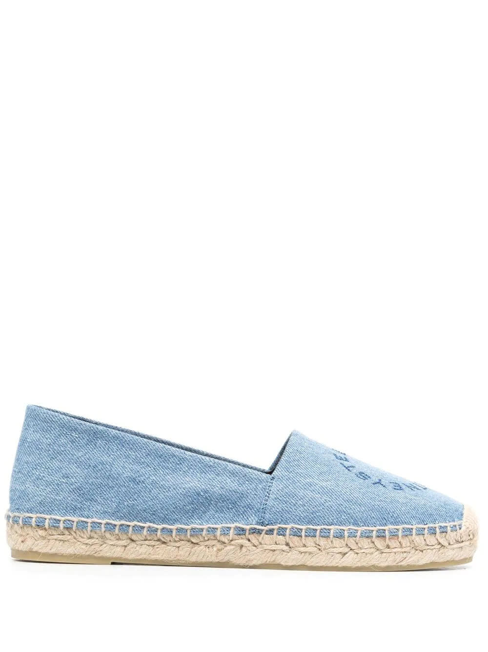 Buy Stella McCartney Periwinkle Denim Espadrilles With Embroidered Logo online, shop Stella McCartney shoes with free shipping