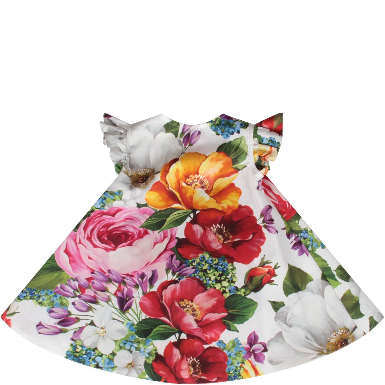 Buy Dolce & Gabbana White Babygirl Dress With Colorful Flowers online, shop Dolce & Gabbana with free shipping