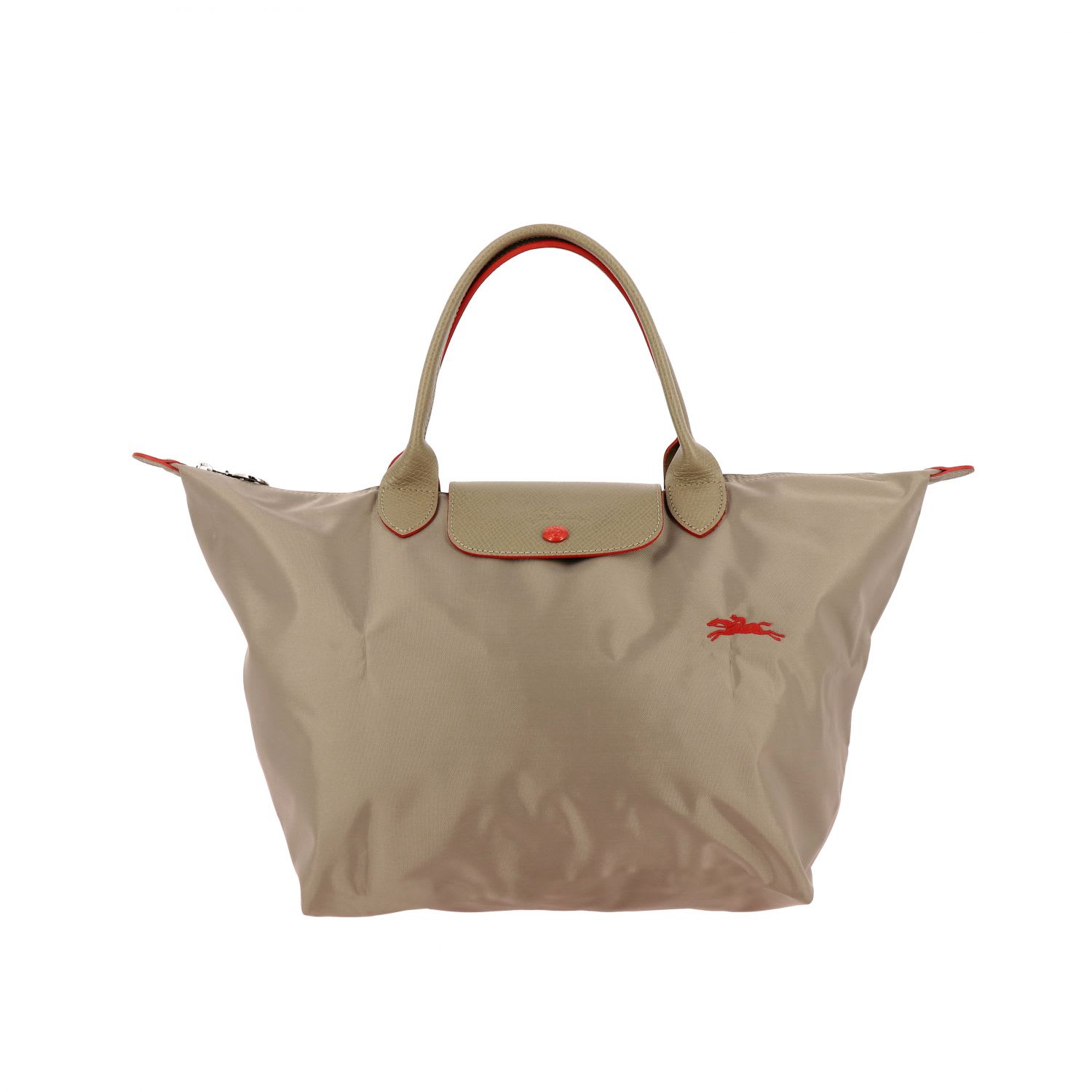 Longchamp Bag In Nylon With Embroidered Logo In Dove Grey