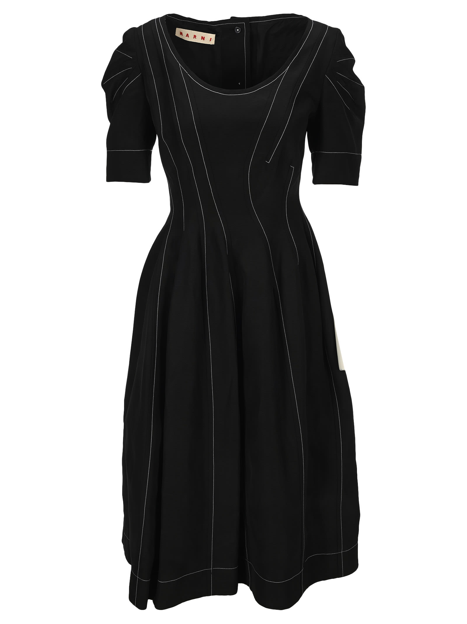 Buy Marni Puff Sleeves Midi Dress online, shop Marni with free shipping