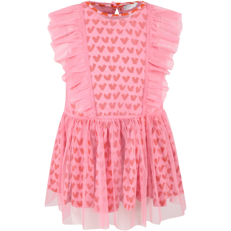 Buy Stella McCartney Kids Pink Dress For Baby With Hearts online, shop Stella McCartney Kids with free shipping